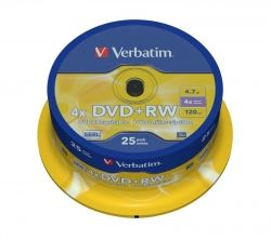 DVD+RW VERBATIM 4.7GB 4X SPINDLE 25 43489