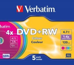 DVD+RW VERBATIM 4.7GB 4X COLOR SLIM CASE 5PACK SLIM CASE 43297